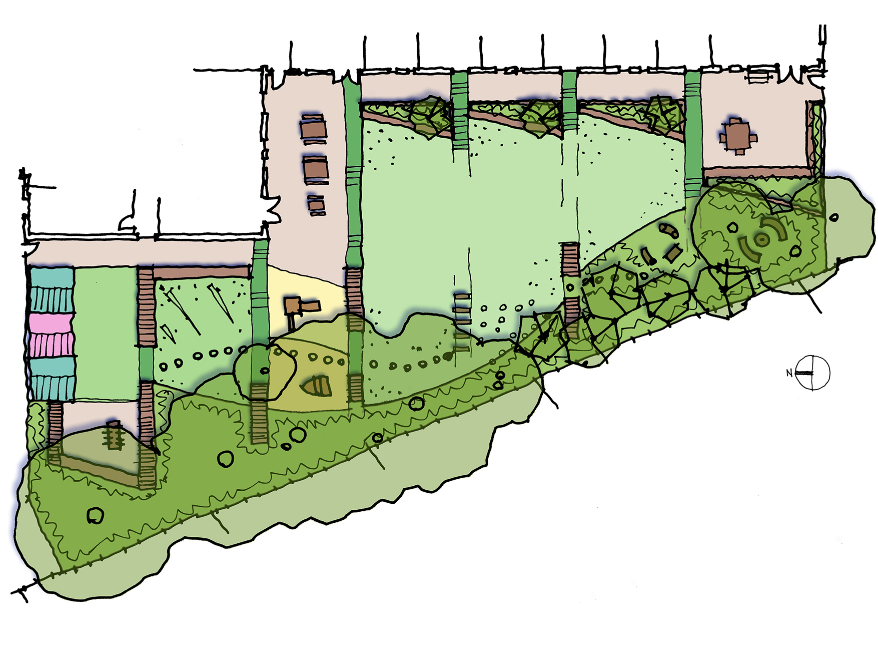 Concept sketch for the garden - based on a previous building layout