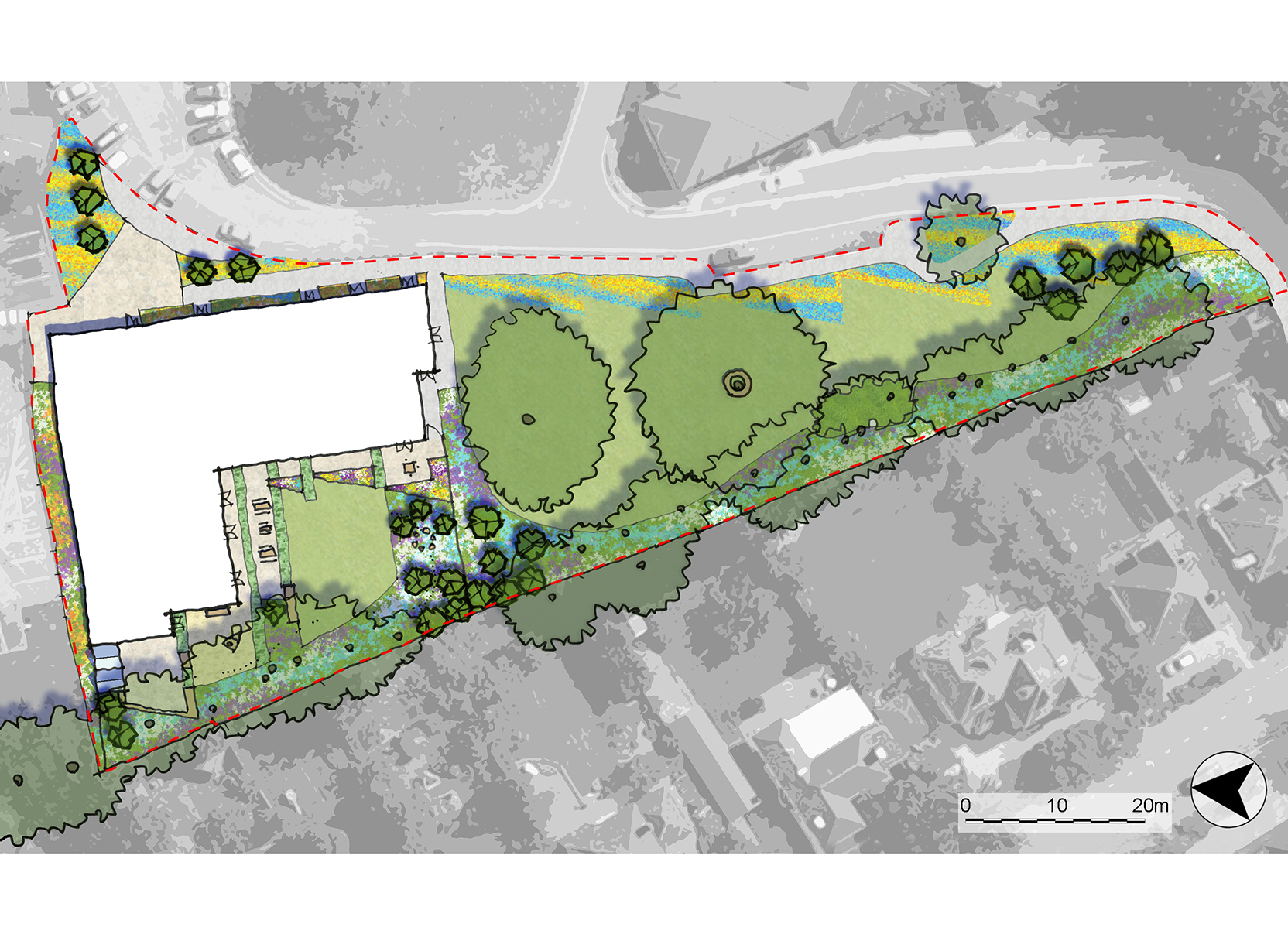 Plan of overall site with children's garden and a public open space